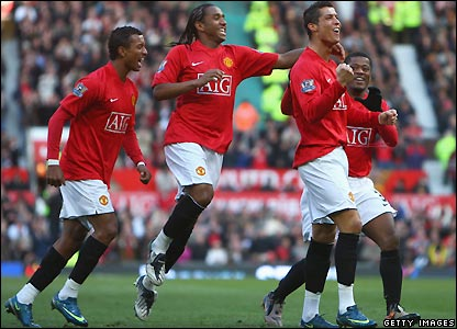 Ronaldo and his team-mates celebrate his early goal