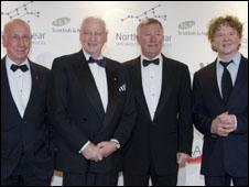 Sir Bobby Robson with Bobby Charlton, Alex Ferguson and Mick Hucknall