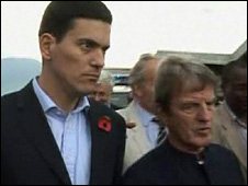 David Miliband and Bernard Kouchner in the Democratic Republic of Congo (1 November 2008)