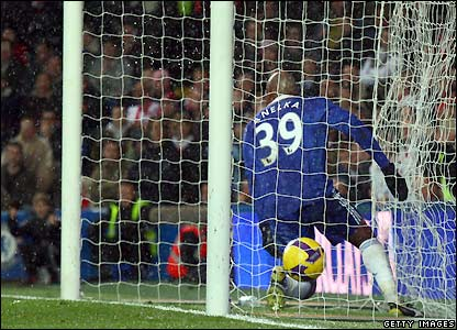 Anelka ends up in the net with the ball