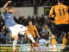 Cardiff's Ross McCormack scoring his 11th Championship goal of the season