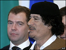 Dmitry Medvedev and Muammar Gaddafi (1 November 2008)