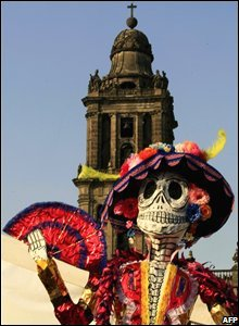 A sculpture of La Catrina, a symbol representing death in Mexican folklore, in the Zocalo, Mexico City