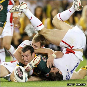 Anthony Laffranchi gets the ball down for try number four for Australia