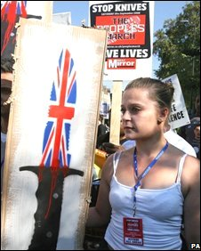 A protest against knife crime in London in September 2008