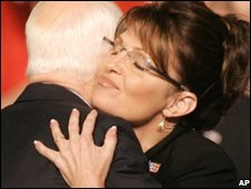 Sarah Palin embraces John McCain