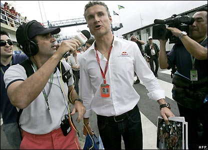 Red Bull driver David Coulthard arrives