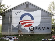 Obama supporter paints house