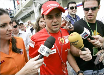 Massa takes questions as he arrives