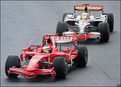 Hamilton chases Ferrari's Raikkonen