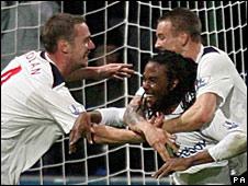 Bolton celebrate after Gardner breaks the deadlock
