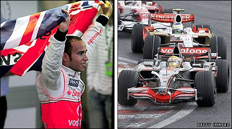Lewis Hamilton celebrates winning the Formula One world title