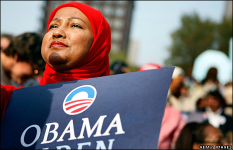 Obama supporter in Columbus, Ohio