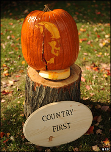 A pumpkin carved with the image of John McCain stands near the entrance of Strath Haven High School in Wallingford, Pennsylvania