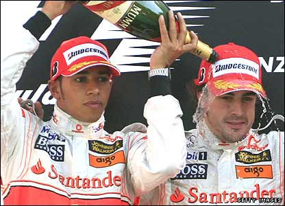 Lewis Hamilton and former McLaren team-mate Fernando Alonso celebrate half-heartedly at Monza