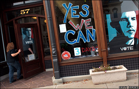 An Obama supporter walks into one of his campaign offices in downtown Delaware, Ohio
