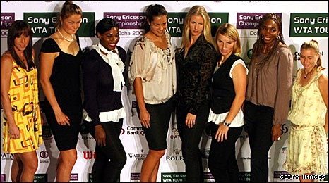 Jelena Jankovic of Serbia, Dinara Safina of Russia, Serena Williams of the United States, Ana Ivanovic of Serbia, Elena Dementieva of Russia, Svetlana Kuznetsova of Russia, Venus William of the United States and Vera Zvonareva of Russia