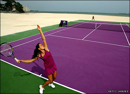 Ana Ivanovic of Serbia and Elena Dementieva of Russia play a historic match on a Desert Island in the bay of Doha