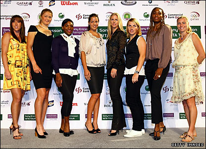 Jelena Jankovic of Serbia, Dinara Safina of Russia, Serena Williams of the USA, Ana Ivanovic of Serbia, Elena Dementieva of Russia, Svetlana Kuznetsova of Russia, Venus Williams of the USA and Vera Zvonareva of Russia