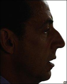 Nicolas Sarkozy in silhouette, AP