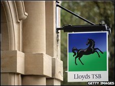 The black horse sign is displayed outside a branch of Lloyds TSB in Bristol