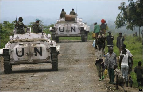 UN soldiers escort an aid convoy in Kibati, north of Goma in eastern DR Congo.