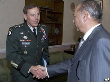 Gen Petraeus ( left)  is welcomed by Pakistan's Defense Minister Chaudhry Ahmed Mukhtar