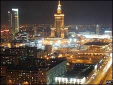A night view of central Warsaw. File photo