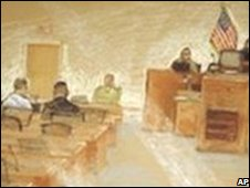 Sketch of Bahlul at Guantanamo hearing