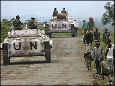 UN peacekeepers patrol in rebel-held territory near Rutshuru, 3 November 2008