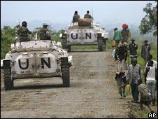 UN peacekeepers patrol in rebel-held territory near Rutshuru, 3 November 2008