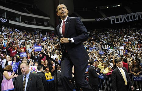 Barack Obama at a rally in Jacksonville, Florida