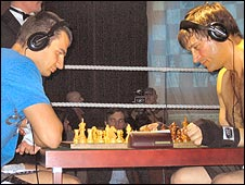 Konrad Rikardson and Tim Woolgar at the chessboard