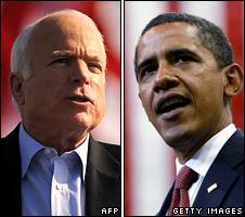 Composite image of John McCain and Barack Obama campaigning on 3 November 2008