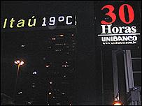 Itaú y Unibanco en la Avenida Paulista de Sao Paulo