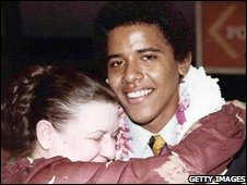Grandmother Madelyn Dunham with Barack Obama at the latter's High School graduation