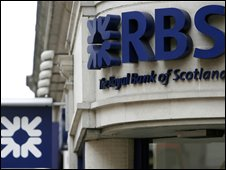 A logo of the Royal Bank of Scotland (RBS) is seen outside one of its branches in London