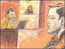 A courtroom drawing of Franklin Duran on 21 October 2008