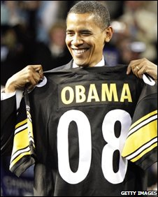 Obama with a Steelers jersey bearing his name