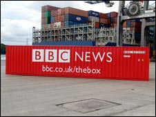 The BBC-branded shipping contrainer