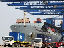 Ship being unloaded at Tianjin port in China
