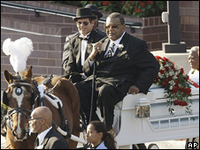 Casket carrying the body of Julian King