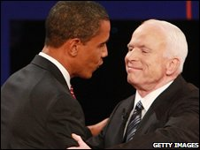 Barack Obama and John McCain at their third and final debate
