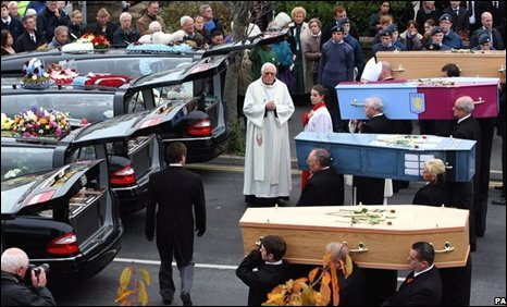 The four coffins are taken from the church