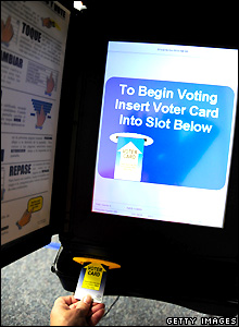Electronic voting machine in Manassas, Virginia