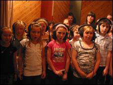 Ysgol Glanaethwy in the studio