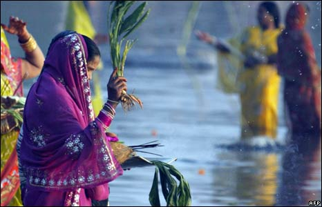 The Hindu festival of Chhath at Hyderabad in India