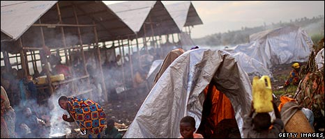 Camp for internally displaced people in eastern Democratic Republic of Congo