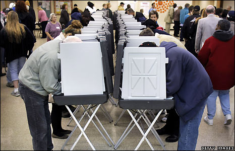 People at polling booths in Warren, Michigan