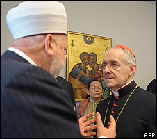 Catholic Cardinal Jean-Louis Tauran (right) listening to Muslim mufti of Bosnia, Mustafa Ceric